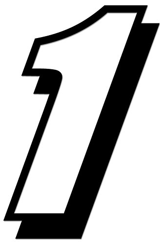 Racing Number 1 Nascar Indy Go Kart Style2 Vinyl Decal Sticker For Vehicle Car Truck Window Bumper Wall Decor - [6 inch/15 cm Tall] - Matte BLACK Color