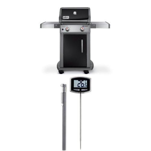 Spirit E210 Propane Grill (Weber 46110001 Spirit E210 Liquid Propane Gas Grill, Black and Thermometer Bundle)