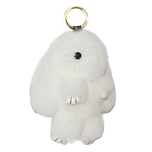 Buyitnow Bunny Keychain Plush Rex Rabbit Fur Keyring Bag Charms Pendant, 5 Inch, White