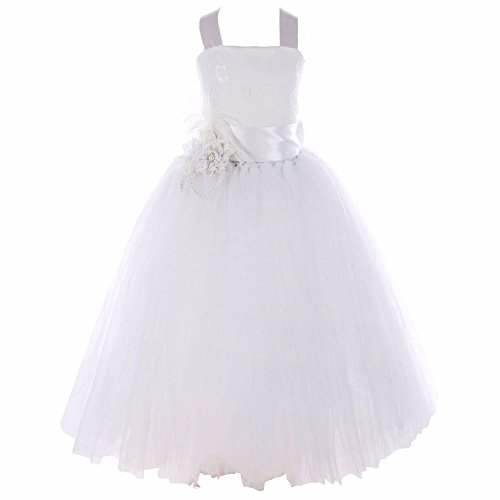iEFiEL Girls Floral Lace Fluffy Tulle Flower Dress Wedding Pageant Feather Costume White 8