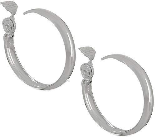 (Napier Women's Silver Large Clip Hoop Earrings)