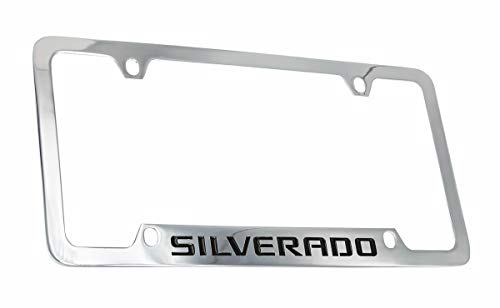 Chevrolet Silverado Chrome Plated Metal Bottom Engraved License Plate Frame