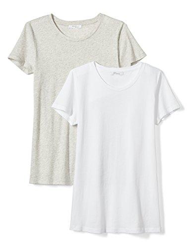 Daily Ritual Women's Tissue Cotton Short-Sleeve Crew Neck T-Shirt, 2-Pack, XL, White/Heather Grey (Crewneck Womens T-shirt Essential)