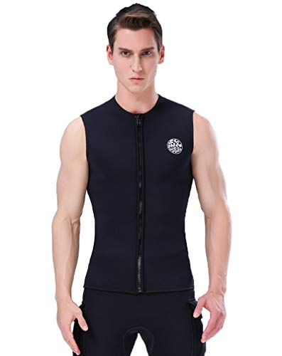 3mm Front Zip Vest - Nataly Osmann Wetsuit Vest Top 3mm Neoprene Front Zipper Diving Vest Sleeveless for Men Women