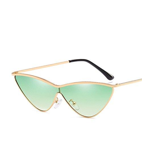 sol Montura Dorada Marco de Gafas Sunglasses Women's Gafas Gris de Personality Lente degradado de dorado Moda Triangle RFVBNM verde de gradiente Siamese Sol awETfq