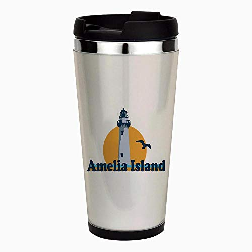 - Amelia Island - Lighthouse Design - Unique and Funny Stainless Steel Travel Mug, Insulated 16 oz. Coffee Tumbler