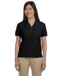 Devon & Jones Ladies' Pima Piqué Short-Sleeve Y-Collar Polo XL BLACK Devon And Jones Cotton Shirt