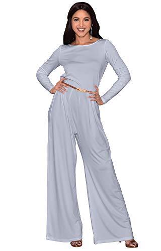 5b2218ef4344 KOH KOH Womens Long Sleeve Wide Leg Belted Formal Elegant Cocktail Jumpsuit