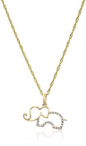 Vir Jewels 1/10 cttw Diamond Elephant Pendant 14K Yellow Gold with 18 Inch - Elephant Jewel