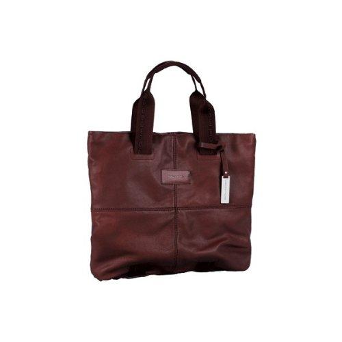 Shopping bag grande in pelle Piquadro, colore testa di moro