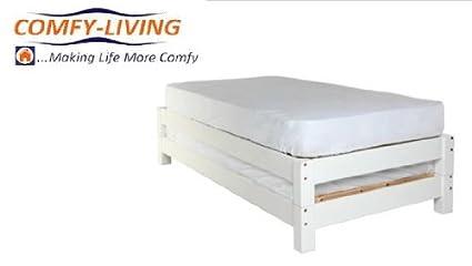 3 ft Single Bed de apilamiento de madera en color blanco con 2 colchones básica presupuesto