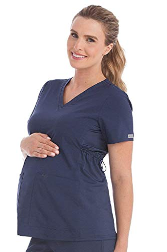 Med Couture Women's V-Neck Side Knit Maternity Scrub Top, Navy, Medium ()