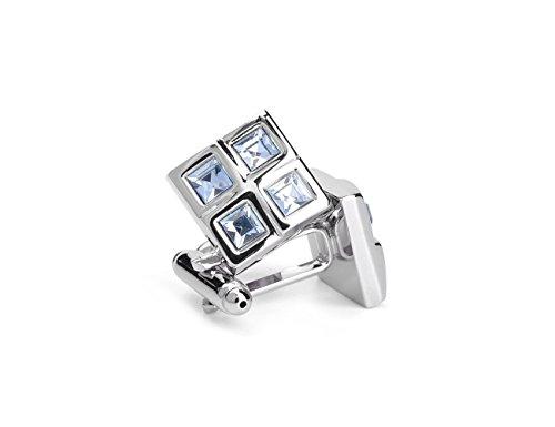 (welbijoux Mens Cufflinks Unique Square Navy Blue Crystal Cufflinks Luxury Silver Shirts Cufflinks for Men 1 Pairs Set)