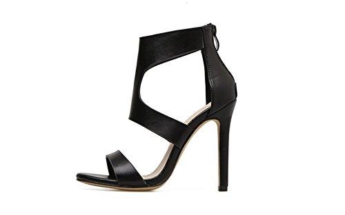 set adil Women's High Heels Buckles Peep Toe Sandals Ankle Straps Prom Party Evening Satin Shoes-(black-36/5 B(M) US Women) Patent Peek A-boo Dress