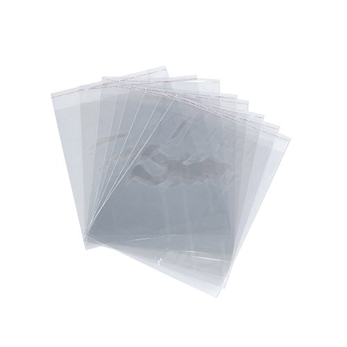 Alytimes 9x12 Inch Resealable Clear Cello Bags - Tape on Lip (Flap) Set of 100