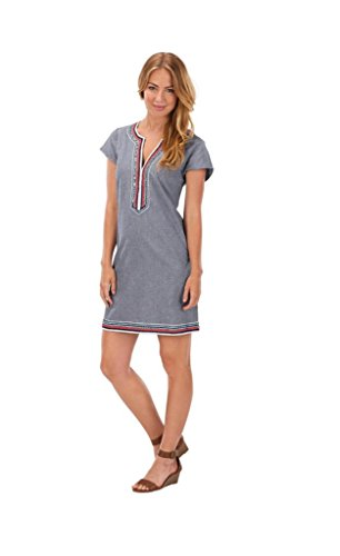 Mud Pie Embroidered Cotton Chambray