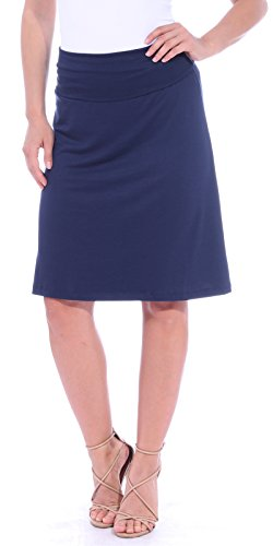 Popana Women's Casual Stretch Midi Knee Length Short Summer Skirt - Made in USA Medium Navy ()