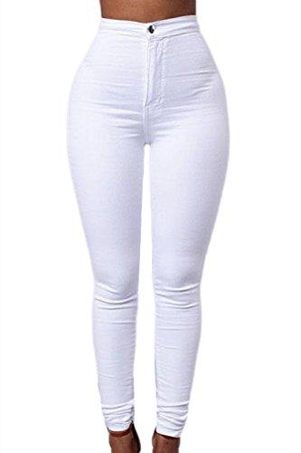 Les Carpi Haute lastique Des Taille En Clubwear Skinny Pantalon white Femmes Denim Jeans 4rqwxTC4P