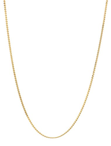 The Bling Factory 1.4mm 25 Mills 24kt Gold Plated Serpentine Link Chain Necklace, 20 ()