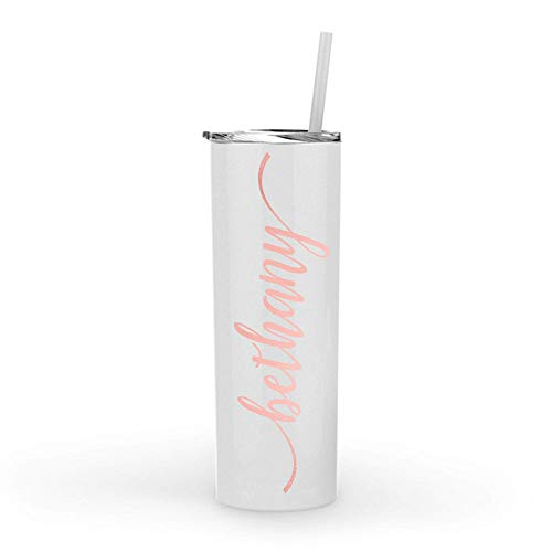 (Monogrammed Stainless Steel Skinny Tumbler with Rose Gold Metallic or Glitter Vinyl Decal | 20oz White Powder Coated Double Wall Vacuum Insulated Tumbler | Personalized with Name, Word or Monogram)