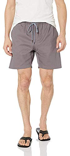 Visive Mens Chino Shorts Elastic Waist Drawstring Chubbies Short Small Charcoal