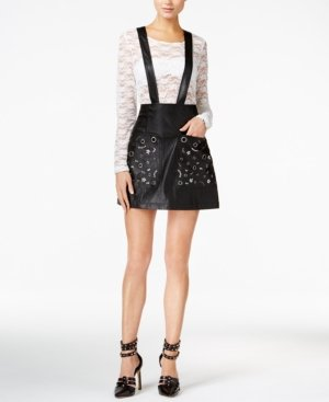 GUESS Womens Rona Faux Leather Embellished A-Line Skirt Black 8 ()