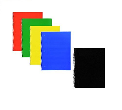 Wide Ruled Poly-Cover One Subject Notebooks (Pack of 5)