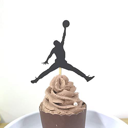 (Set of 24 Black Jordan Basketball Cupcake Toppers Kids¡® Birthday Party)