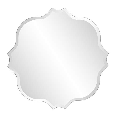 (Howard Elliott Frameless Scalloped Hanging Wall Mirror, Square (36 Inch), Silver - Bathroom, Vanity, Bedroom )