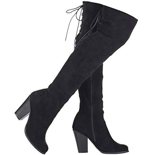 ILLUDE Women's Thigh High Boot - Sexy Over The Knee Pull on Boot - Block Heel Lace Up Knee High Boots - Hailey