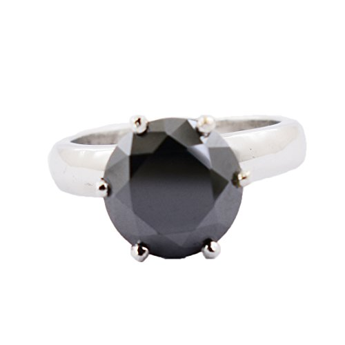 3.10 Carat Black Diamond Solitaire Silver Ring Gift for Birthday by skyjewels