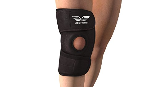 Knee-Brace-support-by-Pegasus-For-Running-Basketball-Arthritis-ACL-MCL-rehab-TOP-QUALITY-BREATHABLE-non-Bulky-Neoprene-Best-Open-Patella-Knee-Protector-Wrap-Adjustable-Compression