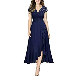 MIUSOL Women's Formal Lace Chiffon V Neck High Low Evening Party Dress