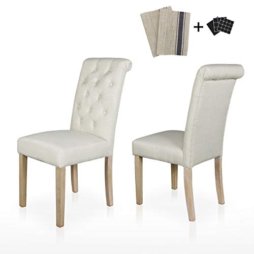 Dining Chairs Set of 2 Fabric Upholstered Lounge Chair Tufted Backrest Padded Solid Wood Legs Kitchen & Dining Furniture