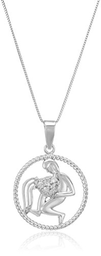 Sterling Silver Diamond Zodiac with Aquarius Pendant Necklace (1/10cttw), 18