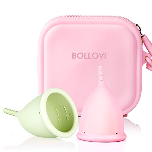 Menstrual Cups Set with Travel Storage Bag, Support Low Cervix and Light or Heavy Flow, Pad and Tampon Alternative, Soft, Flexible and Reusable, Beginner Safe (Large, Pink&Green)