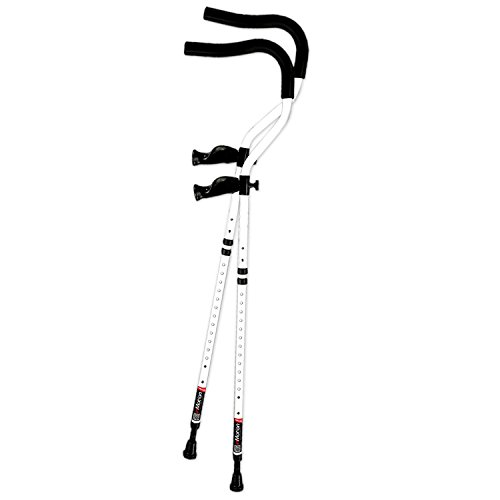 In-Motion Pro Ergonomic Foldable Crutches | Size Tall (5'7' - 6'10') | White