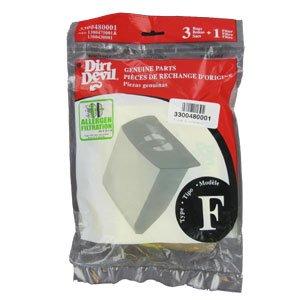 3 Dirt Devil Type F Vacuum Bags & 1 Vacuum Filter