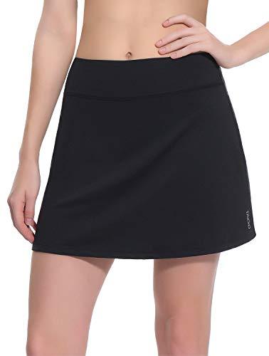 TaiBid Women's Active Athletic Skorts Workout Running Tennis Golf Skirt with Pocket, Black - XL ()