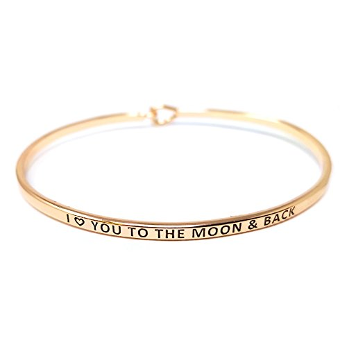 by you Inspirational I Love You to The Moon & Back Message Engraved Thin Cuff Bangle Hook Bracelet (I Love You to The Moon & Back-Rosegold, Brass) ()
