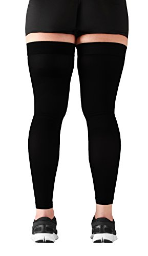 Mojo Thigh High Compression Stockings - Compression Leg Sleeve - 20-30mmHg Medical Graduated Compression - Thigh Hi Recovery Garment Treats Hamstring and Quad Injuries - Large, Black by Mojo Compression socks (Image #2)