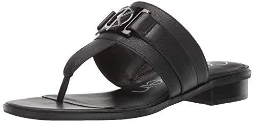 Womens Flat Black Thong Shoes - Calvin Klein Women's Farley Flat Sandal, Black Soft Nappa Leather, 9.5 M M US