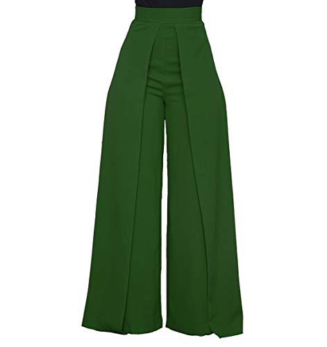 Women's High Waisted Palazzo Pants - Elegant Wide Leg Flare Pants Head Turner Green Small