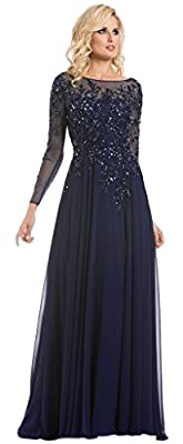 Meier Women's Starlit Beaded Long Sleeve Mother Of The Bride Evening Gown