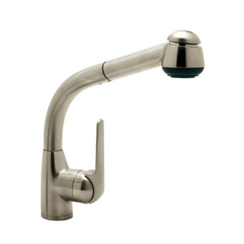 Rohl R7913STN Single Hole Side Metal Lever De Lux Kitchen Pullout Faucet with 9-5/8-Inch Reach Long Handspray and Hose, Satin Nickel (Lever Handspray)