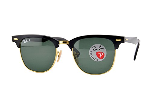 Ray-Ban RB3507 Clubmaster Aluminum Square Sunglasses, Black & Gold/Polarized Green, 49 ()