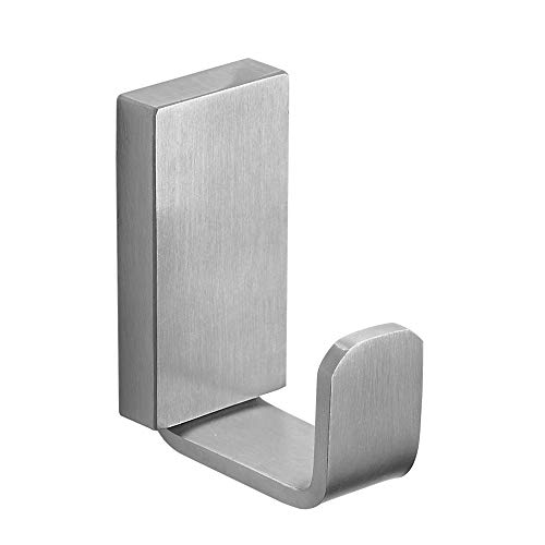 BESy Self Adhesive Clothes Robe Hook Single Towel Hook SUS 304 Stainless Steel for Bath Shower Kitchen Garage Square Style, Drill Free with Glue or Wall Mounted with Screws, Brushed Nickel Finish