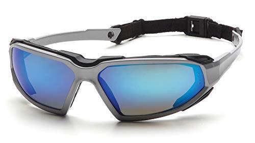 Pyramex Highlander Safety Eyewear, Ice Blue Mirror Anti-Fog Lens With Silver/Black Frame