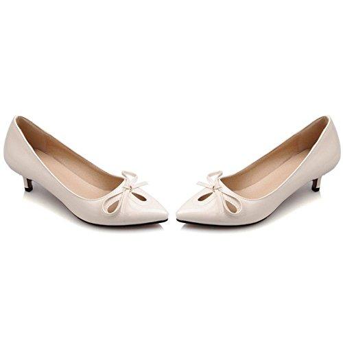 LongFengMa Women Fashion Kitten Heels Court Shoes Pumps Footwear Beige 94TCY6u