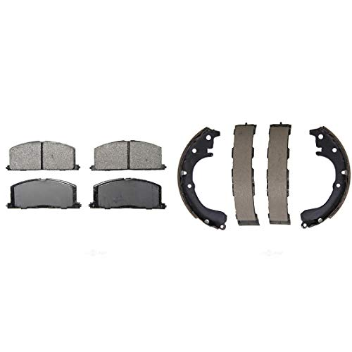 (AutoDN Front and Rear Disc Brake Pads and Brake Shoes Set For TOYOTA TERCEL 1984-87)
